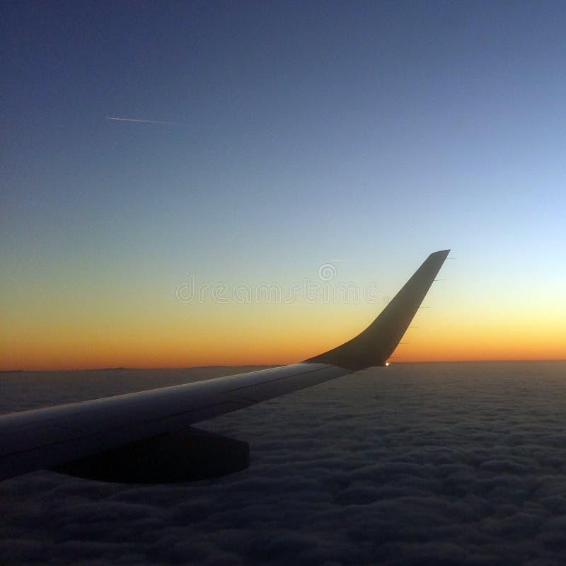Ala dell'aeroplano nel tramonto immagini stock