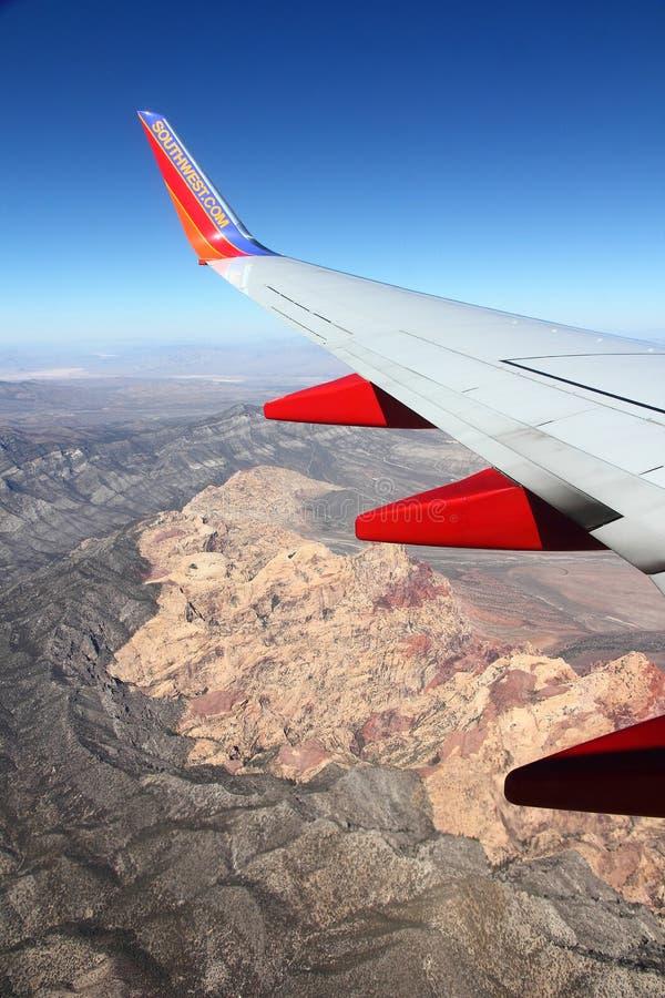 Ala di sud-ovest sopra il canyon rosso della roccia immagini stock libere da diritti
