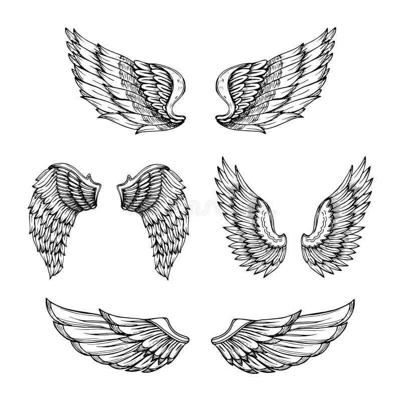Ala disegnata a mano Ali di angelo di schizzo con le piume Progettazione del tatuaggio di vettore isolata illustrazione vettoriale
