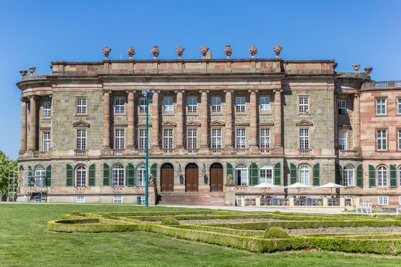 Ala laterale del castello storico nel Bergpark di Cassel immagini stock