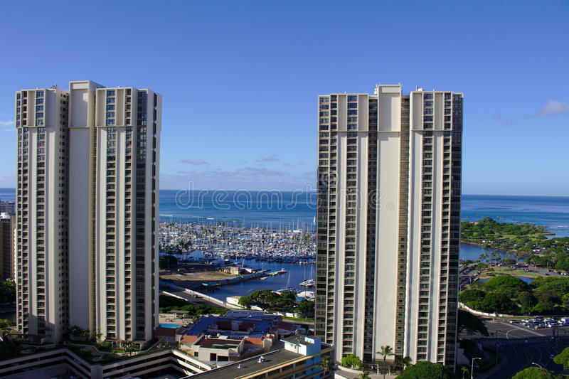 Ala Moana View. View on the Ala Moana quarter in Honolulu. To be seen between the towers is the Ala Wai Boat Harbour next to Waikiki Beach, on the right hand royalty free stock photos