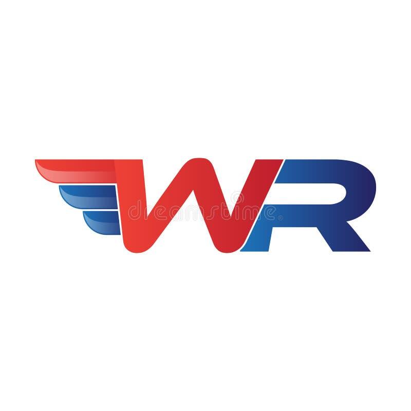 Ala veloce di vettore di logo della lettera iniziale WR illustrazione di stock