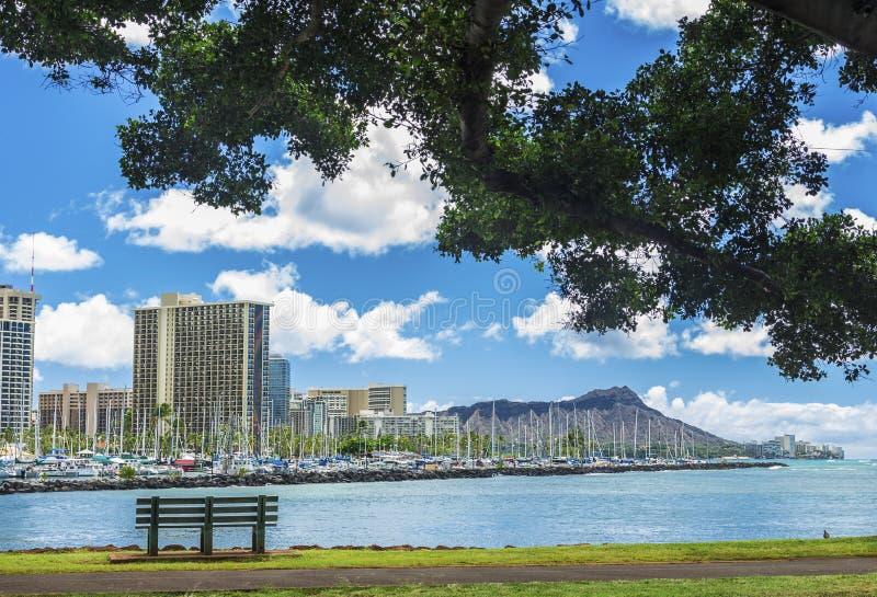 Ala Wai Marina en Diamond Head stock afbeeldingen