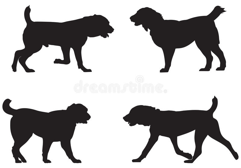 Alabai, Central Asian Shepherd Dog Breed Silhouettes royalty free illustration