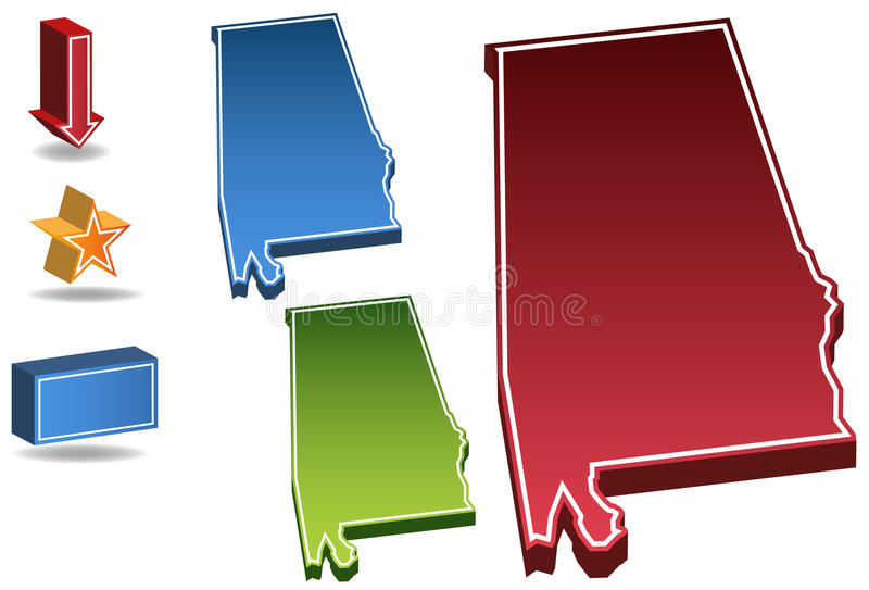 Alabama 3D. Set of 3D images of the State of Alabama with icons vector illustration