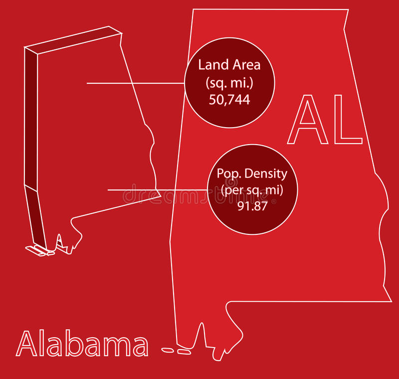 Alabama 3d Vector Map Info Graphic Stock Vector Illustration Of