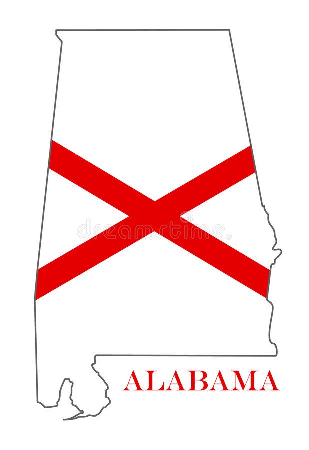 Alabama. Outline and state flag illustration stock illustration