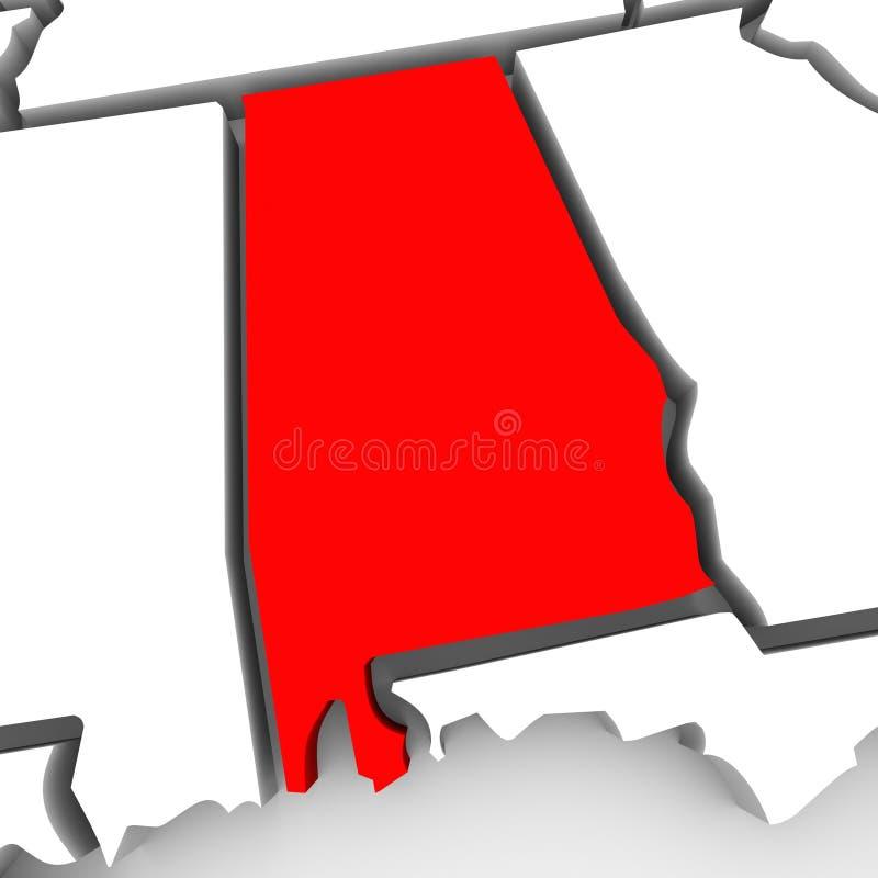Alabama abstrakta 3D stanu Czerwona mapa Stany Zjednoczone Ameryka ilustracja wektor