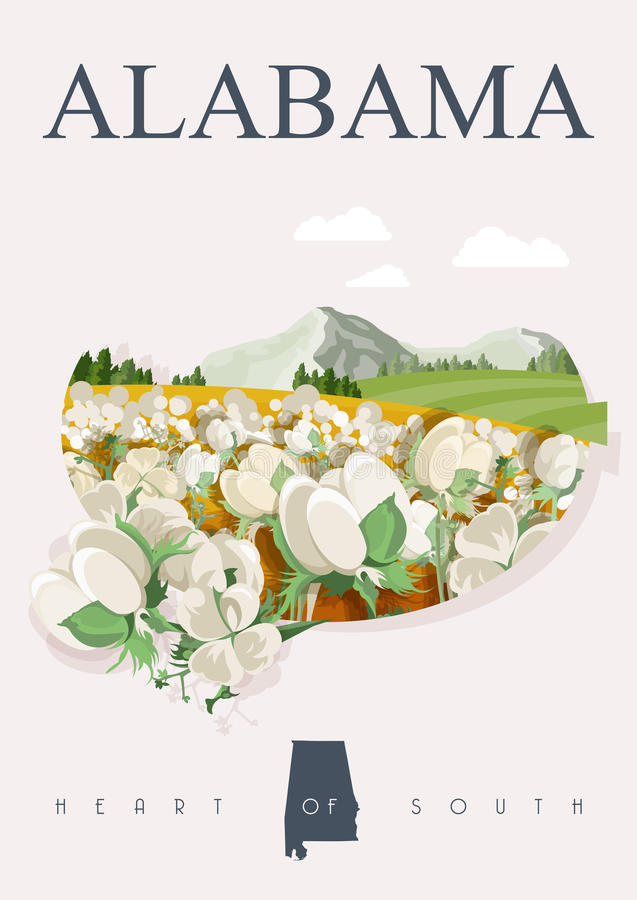 Alabama american travel poster. Heart of South banner. Alabama american travel poster. Vector USA banner. United STates of America. Cotton field. Heart of South royalty free illustration