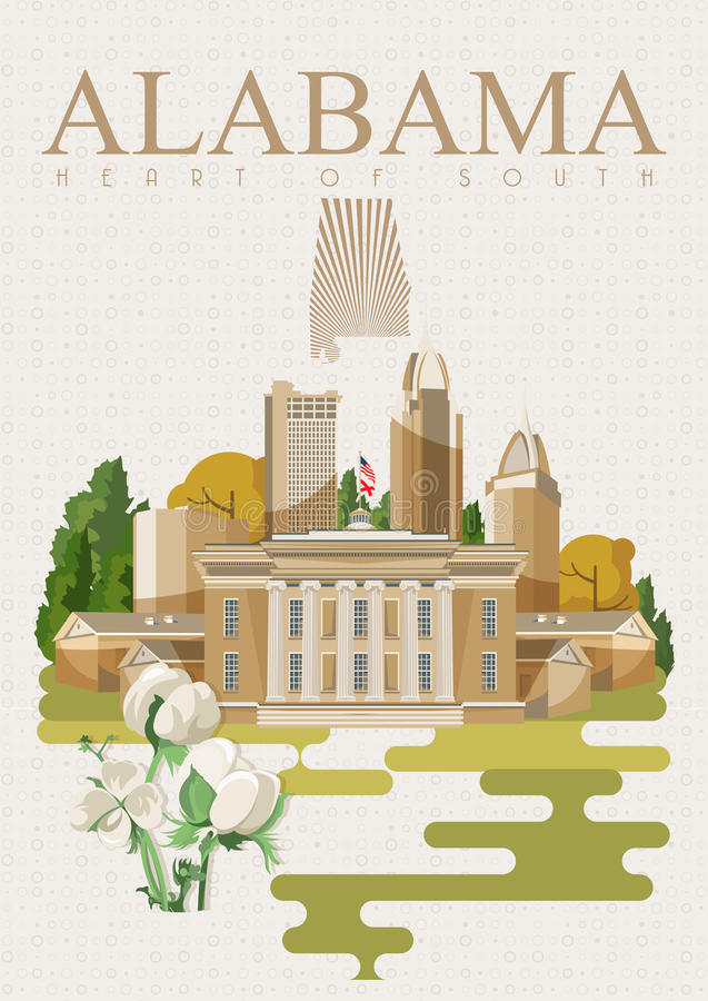 Alabama american travel poster. Heart of South. Alabama american travel poster. Vector USA banner. United STates of America. Cotton field. Heart of South royalty free illustration