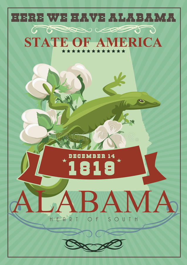 Alabama american travel poster. Here we have Alabama. Alabama american travel poster. Vector USA banner. United STates of America. Cotton field. Here we have stock illustration