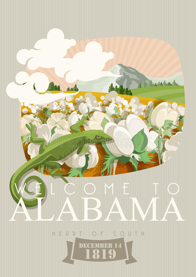 Alabama american travel poster. Welcome to Alabama. Alabama american travel poster. Vector USA banner. United STates of America. Cotton field. Welcome to Alabama royalty free illustration