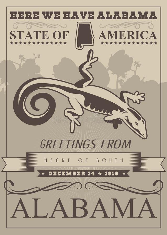Alabama amerikansk loppaffisch royaltyfri illustrationer