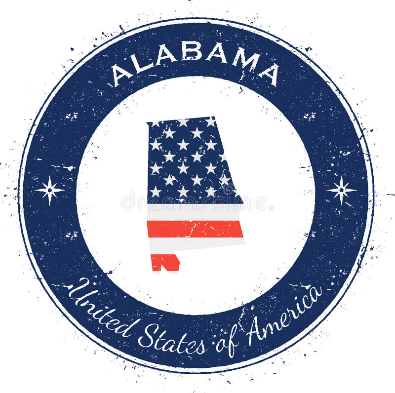 Alabama circular patriotic badge. Grunge rubber stamp with USA state flag, map and the Alabama written along circle border, vector illustration vector illustration