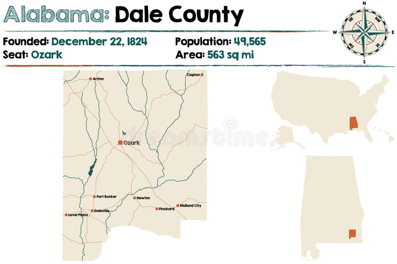 Alabama: Dale county map. Large and detailed map of Dale County in Alabama royalty free illustration