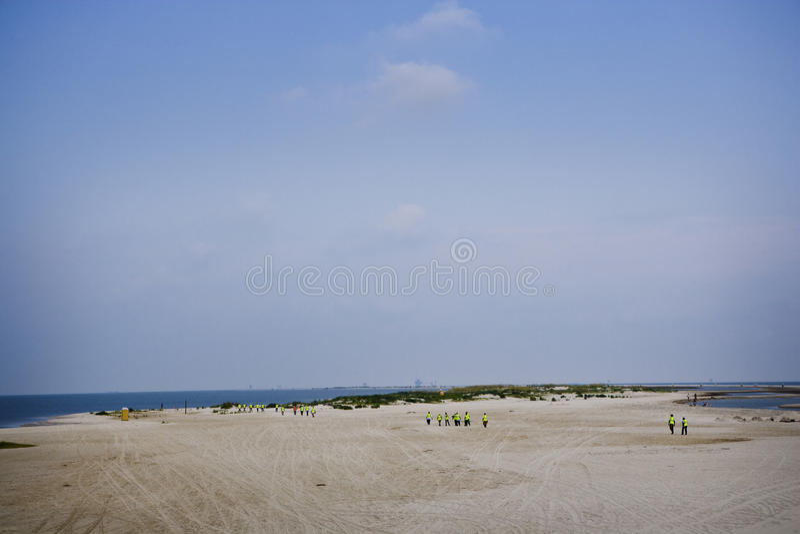 alabama dauphin wyspy wyciek ropy pracownicy zdjęcia stock