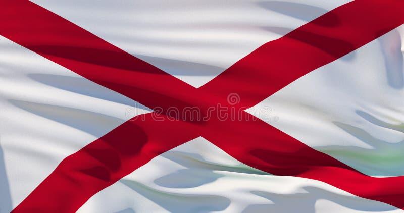 Alabama-Flagge, die Vereinigten Staaten von Amerika Abbildung 3D vektor abbildung