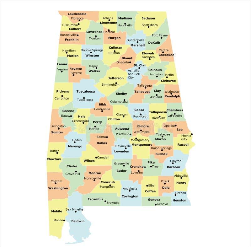 Alabama-Grafschaftskarte lizenzfreie abbildung