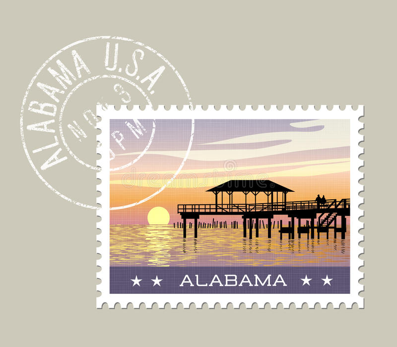 Alabama gulf coast with fishing pier. Alabama, postage stamp design. vector illustration of gulf coast with fishing pier. grunge postmark on separate layer vector illustration
