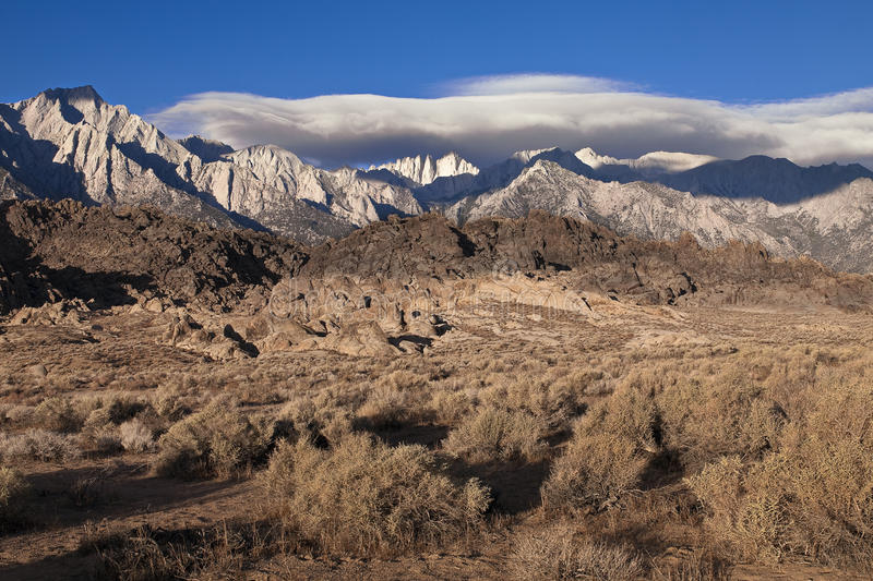 Alabama Hills with Snow Capped Mountains stock photo