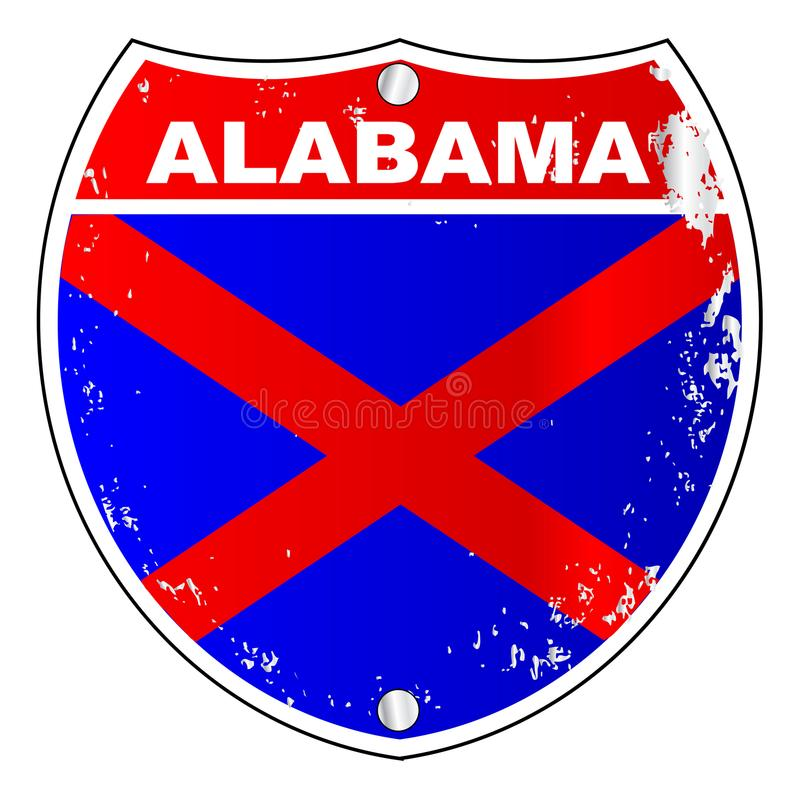 Alabama Interstate Sign. With flag cross over a white background stock illustration