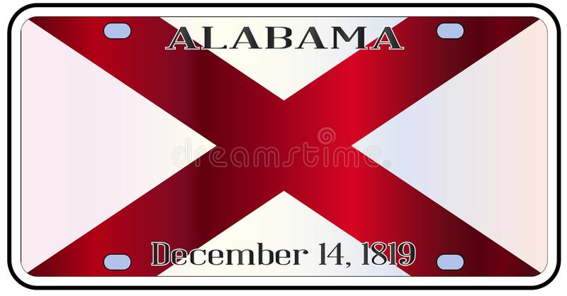 Alabama License Plate Flag. Alabama state license plate in the colors of the state flag with the flag icons over a white background vector illustration