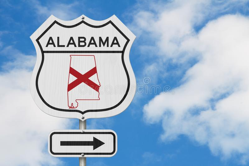 Alabama map and state flag on a USA highway road sign. With sky background stock photography