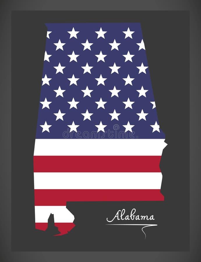 Alabama mapa z Amerykańską flaga państowowa ilustracją royalty ilustracja