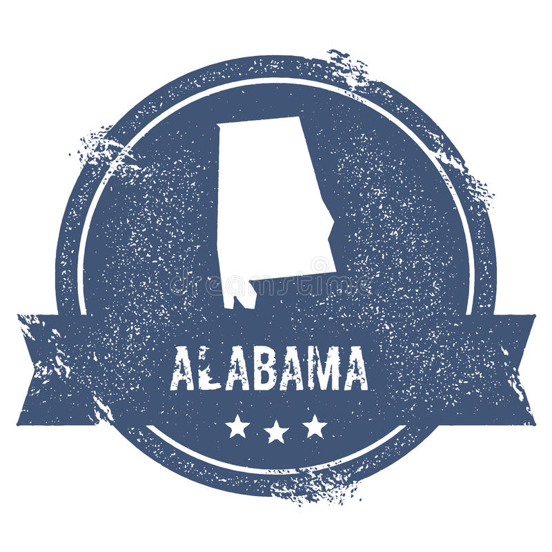 Alabama mark. Travel rubber stamp with the name and map of Alabama, vector illustration. Can be used as insignia, logotype, label, sticker or badge of USA vector illustration