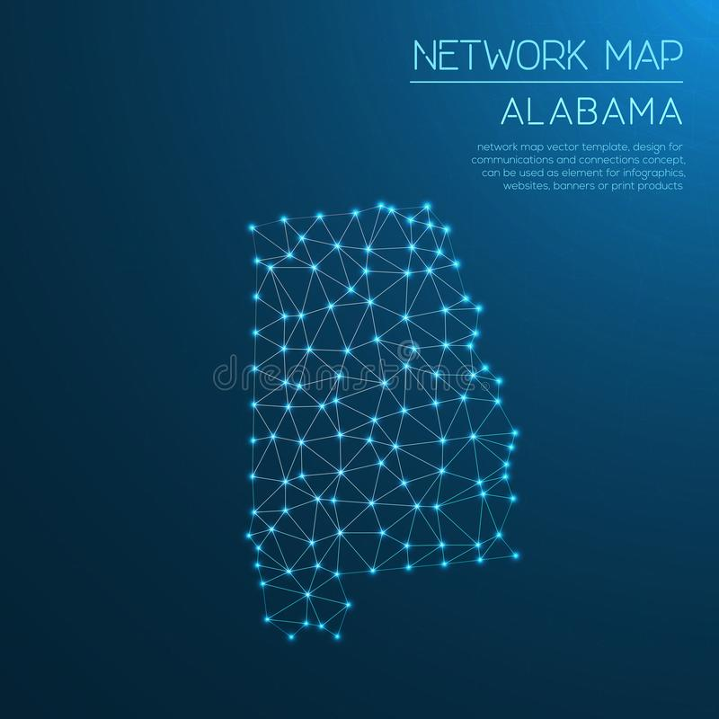 Alabama network map. Abstract polygonal US state map design. Internet connections vector illustration vector illustration