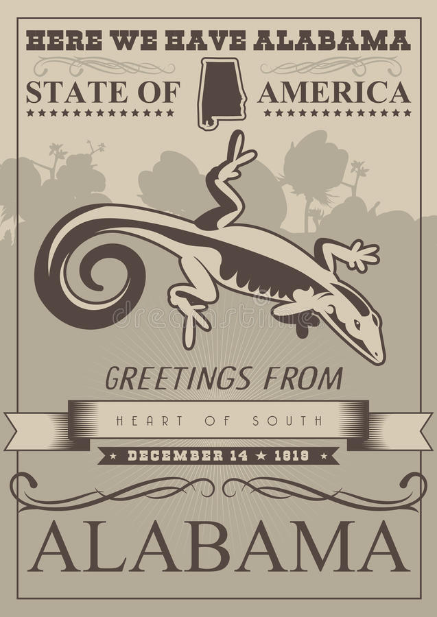 Alabama podróży amerykański plakat royalty ilustracja