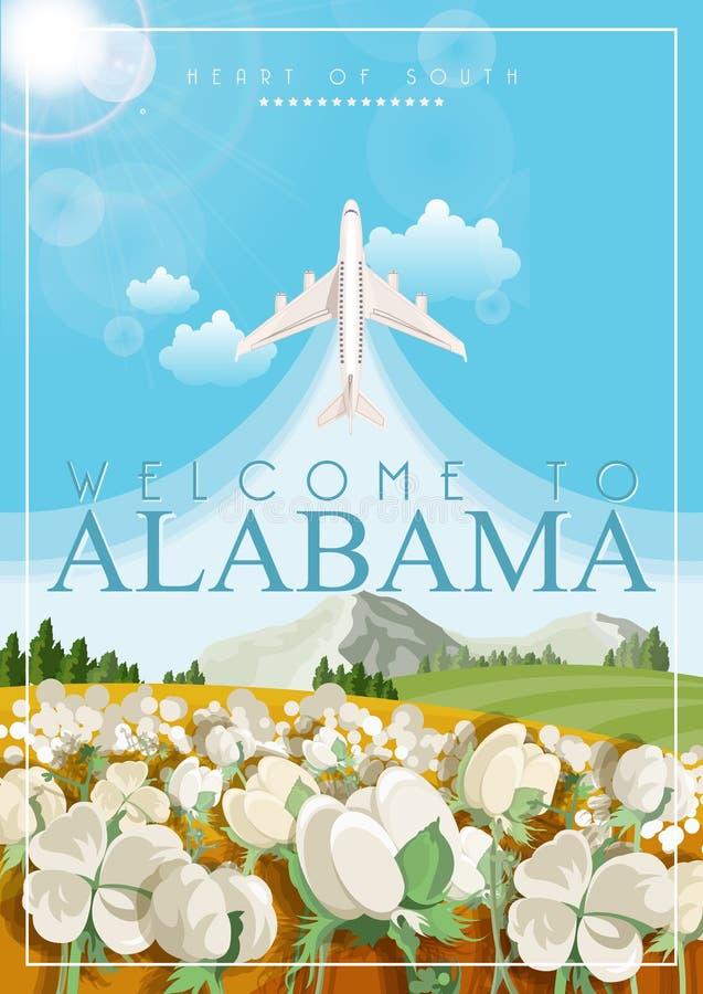 Alabama podróży amerykański plakat Bawełny pole ilustracji