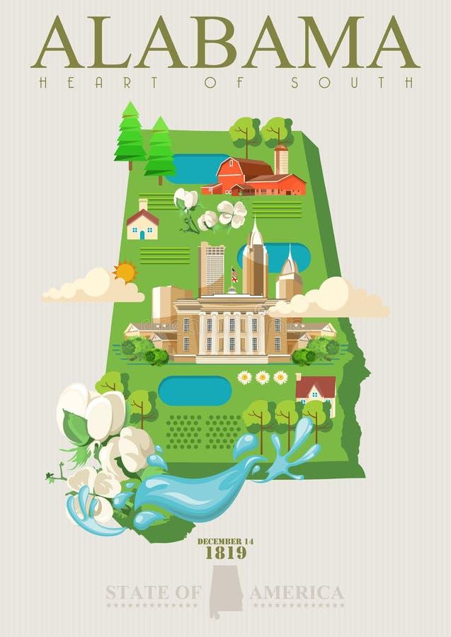 Alabama podróży amerykański plakat Serce południe karta ilustracji