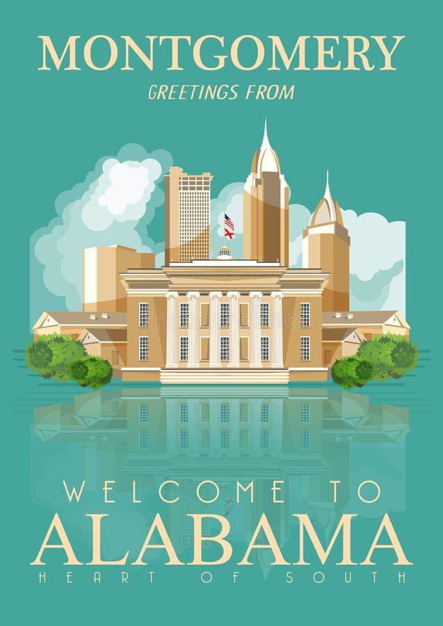 Alabama podróży amerykański sztandar montgomery ilustracja wektor