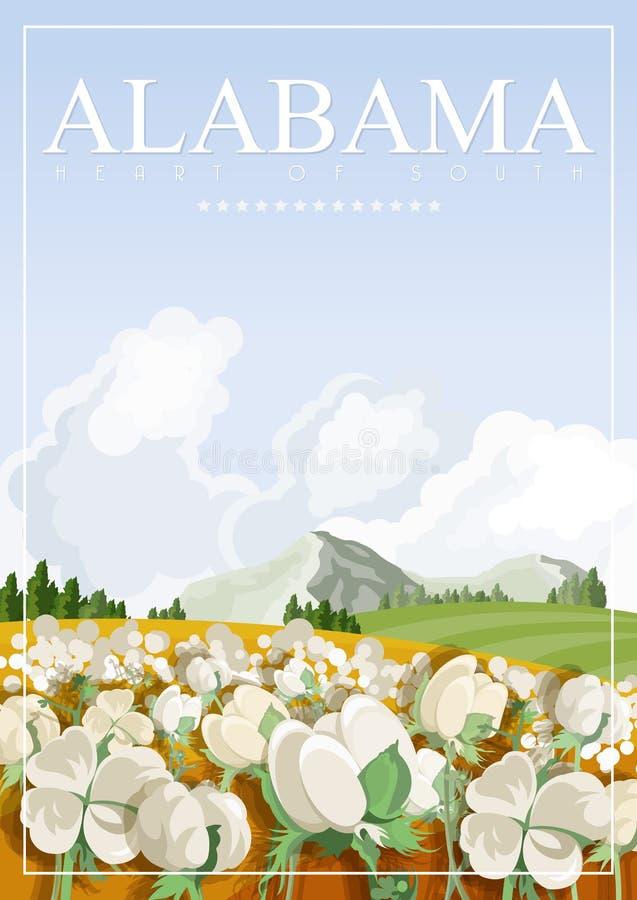Alabama podróży amerykański sztandar Tutaj Alabama ilustracja wektor