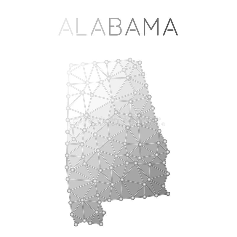 Alabama polygonal vector map. Molecular structure US state map design. Network connections polygonal Alabama map in geometric style for your infographics vector illustration