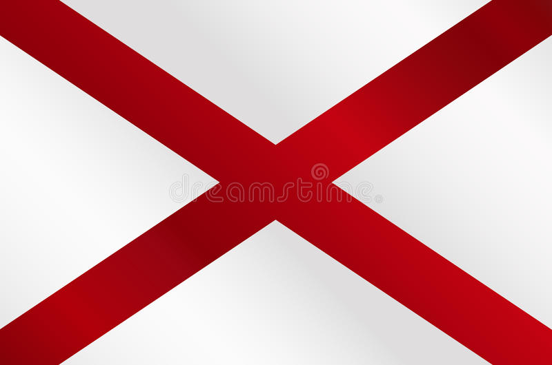 Alabama Sate Flag Gloss. The flag of the United States stae Alabama vector illustration