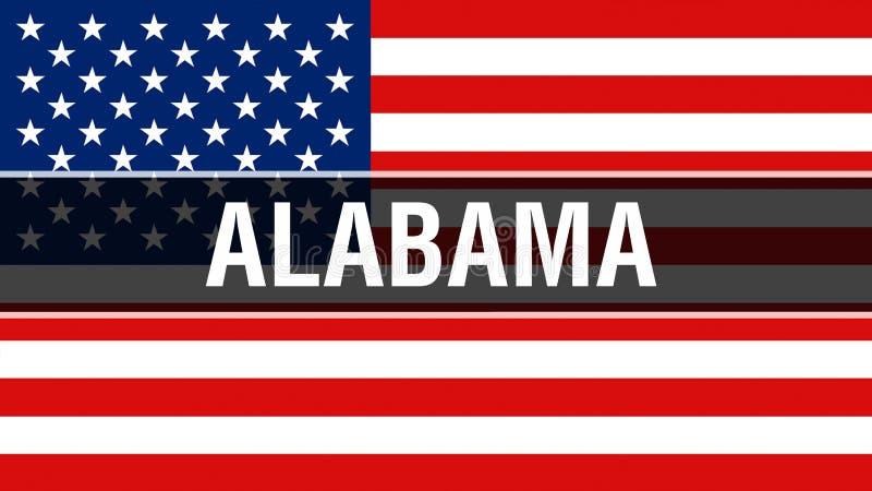 Alabama stan na usa flagi tle, 3D rendering Zlani stany Ameryka zaznaczają falowanie w wiatrze Dumny flagi amerykańskiej falowani ilustracja wektor