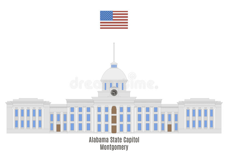 Alabama State Capitol, Montgomery. Alabama State Capitol. Located on Goat Hill, in Montgomery royalty free illustration