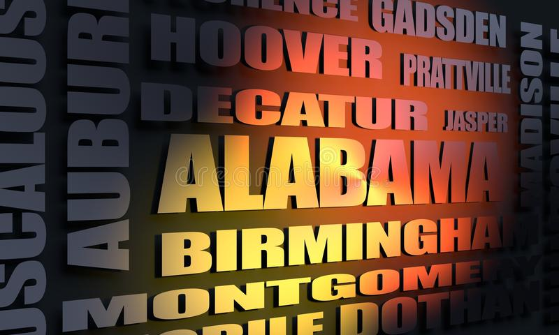 Alabama state cities list. Image relative to usa travel. Alabama state cities list. 3D rendering stock illustration