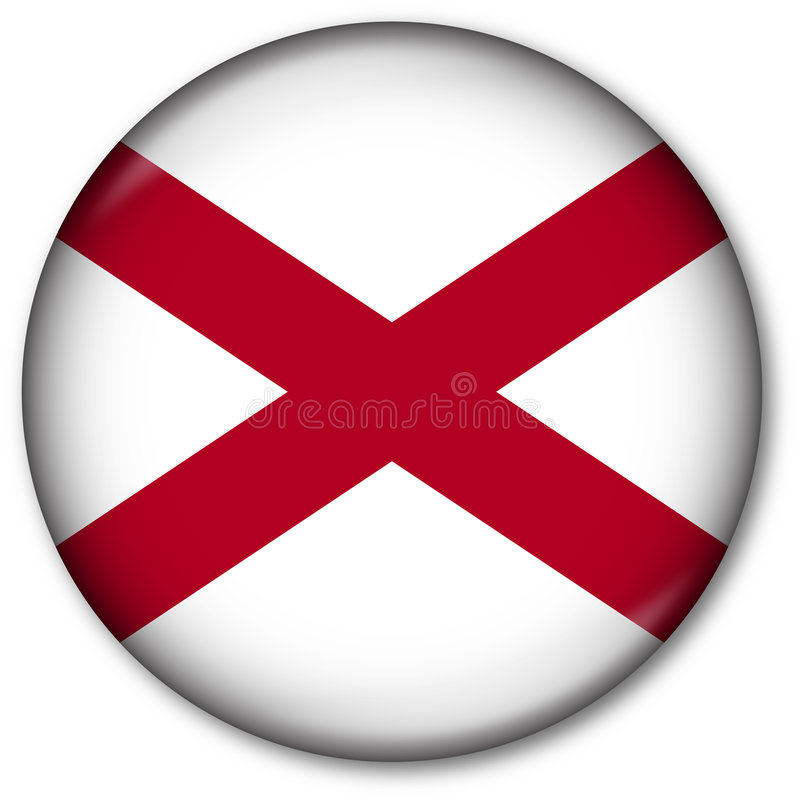 Alabama State Flag Button. Glassy Web Button with the flag of the state of Alabama, USA royalty free illustration