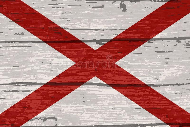 Alabama State Flag On Old Timber. The flag of the USA state of Alabama stock illustration