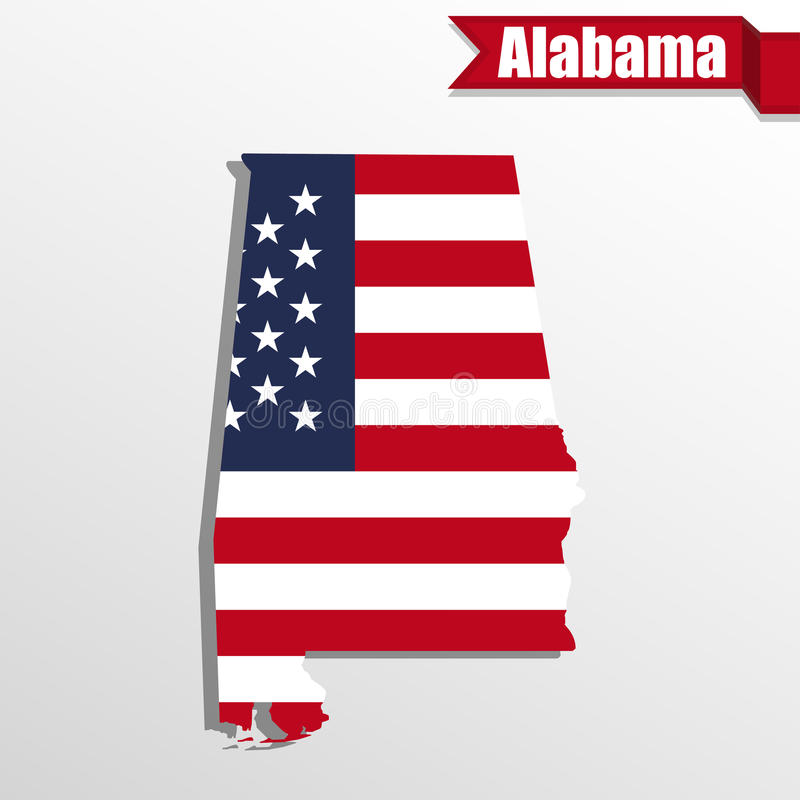 Alabama State map with US flag inside and ribbon vector illustration