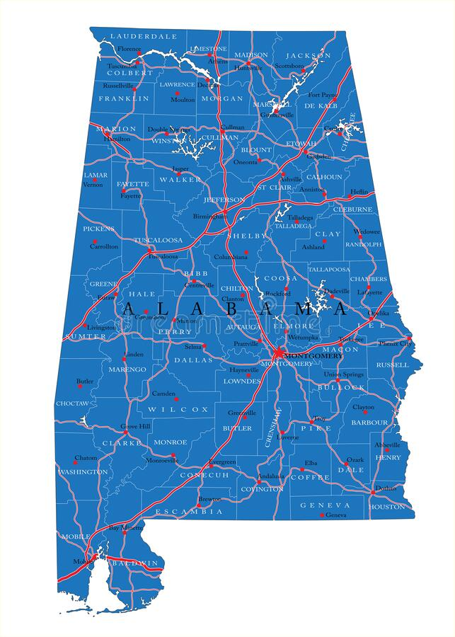 Alabama state political map stock images
