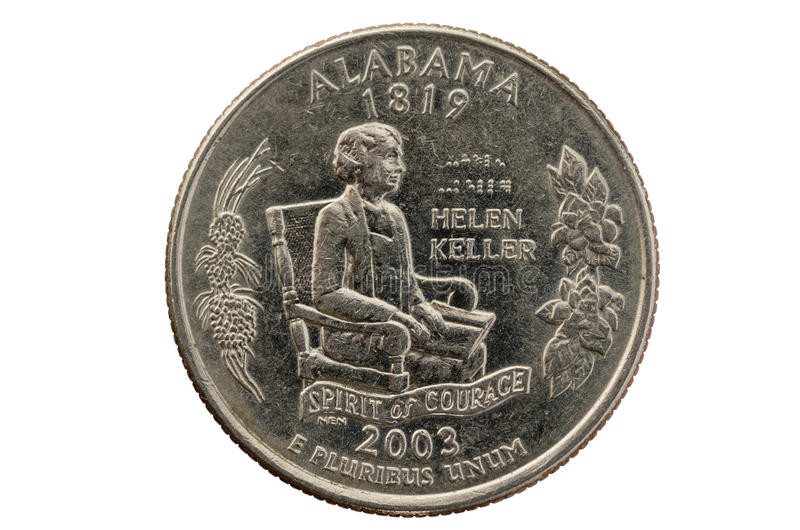 Alabama State Quarter Coin royalty free stock photography