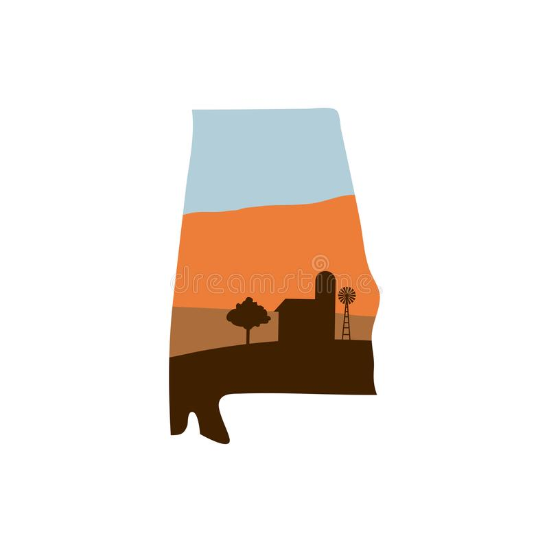 Alabama State Shape with Farm at Sunset w Windmill, Barn, and a. Alabama State Shape w Farm at Sunset with Windmill, Barn, and a Tree stock illustration