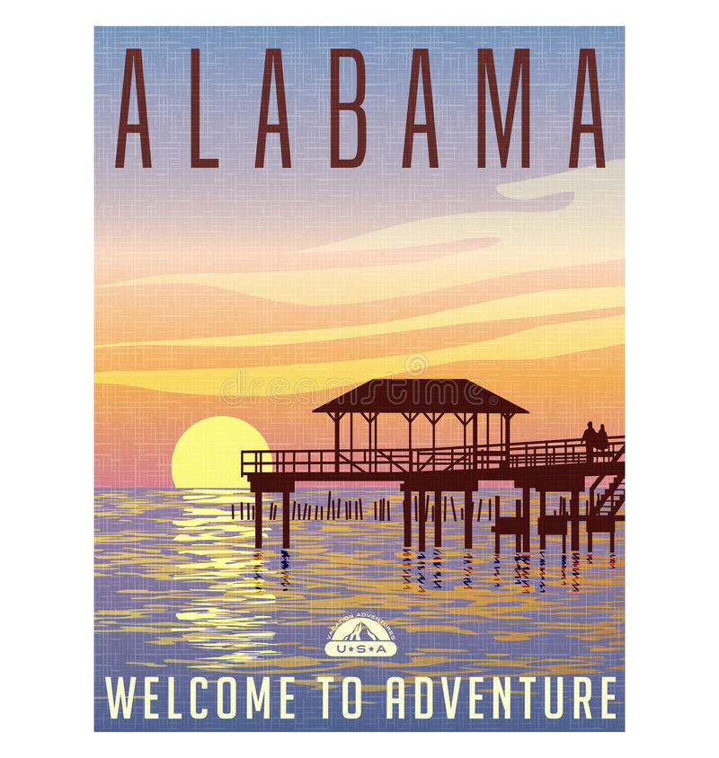 Alabama, United States travel poster. Or luggage sticker. Scenic illustration of a fishing pier on the Gulf coast at sunset vector illustration