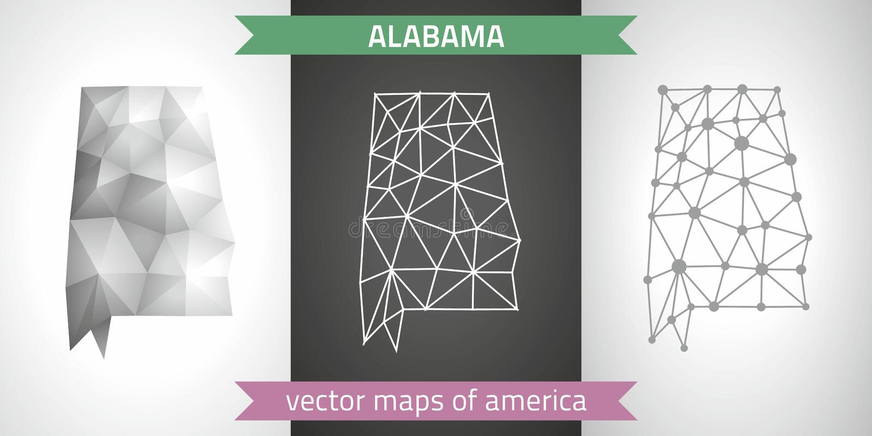 Alabama uppsättning av polygonal översikter för grå färg- och silvermosaik 3d vektor illustrationer