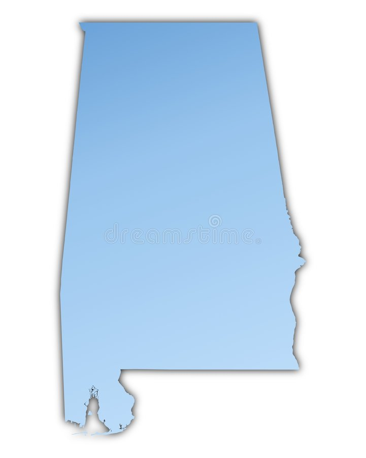 Alabama(USA) map. Light blue map with shadow. High resolution. Mercator projection royalty free illustration