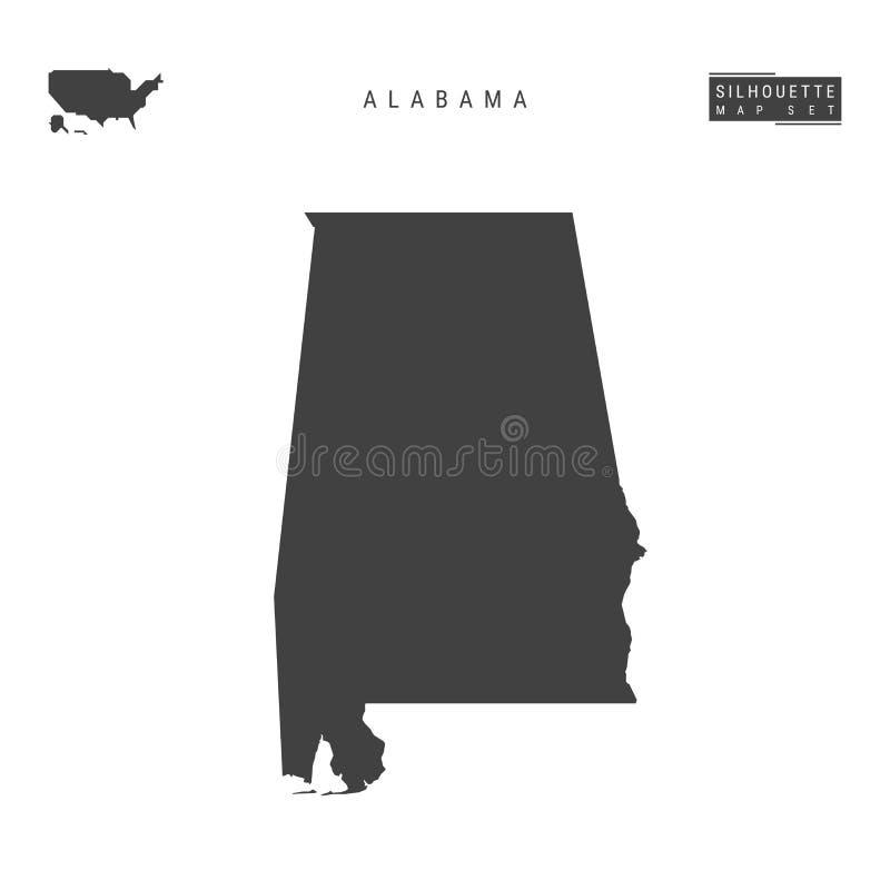 Alabama USA påstår vektoröversikten som isoleras på vit bakgrund Hög-specificerad svart konturöversikt av Alabama royaltyfri illustrationer